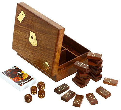 Dominoes Gift Box (ShalinIndia, Wooden Domino Dice and Playing Cards, 3 in 1 Box, 6.75 inch)