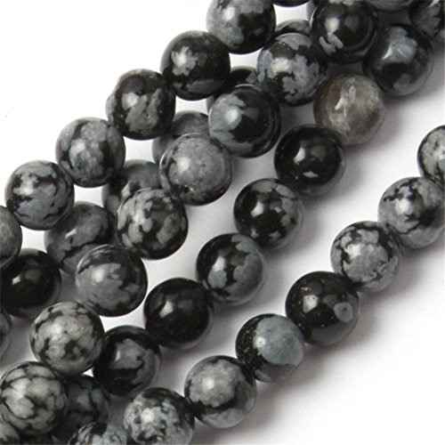 Round Snowflake Obsidian Gemstone Beads For Jewelry Making Loose Beads In Bulk Wholesale Beads Handmade DIY One Strand 15 (4mm, GI2408)