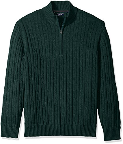 IZOD Men's Cable Solid 1/4 Zip Sweaters, June Bug, Large
