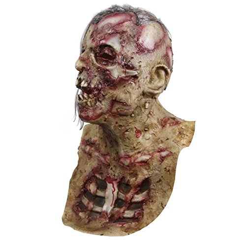 Original Manufacturer Handmade Horror Zombie Full Head Latex Mask Walking Dead Halloween Costume Party Creepy Mask ()