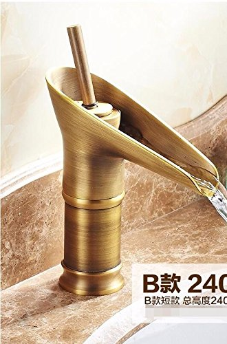 B Lpophy Bathroom Sink Mixer Taps Faucet Bath Waterfall Cold and Hot Water Tap for Washroom Bathroom and Kitchen Copper Antique Bronze Bronze A