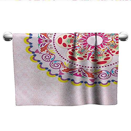 - alisoso Floral,Sweat Towel Vintage Flower Wreath on Damask Background Flowers Romance Artistic Display Print Microfiber Sports Multicolor W 28