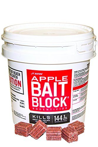 JT Eaton 709-AP Bait Block Rodenticide Anticoagulant Bait, Apple Flavor, For Mice and Rats (Pail of 144)