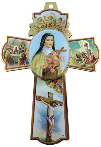 Saint St Therese of Lisieux Little Flower Icon with Cherub Angels 6 Inch Wood Wall Cross