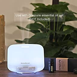 InnoGear 500ml Aromatherapy Essential Oil Diffuser Cool Mist Humidifier Waterless Auto Shut-off with 4 Timers and 9 LED Color Changing Lights