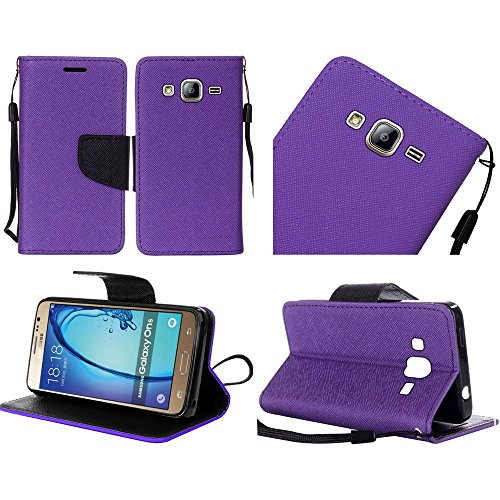 Samsung Galaxy On5 G550 case ( Metro PCS, T-Mobile ), Luckiefind® PU Leather Flip Wallet Credit Card Cover Case & Stylus Pen, Screen Protector Accessory (Wallet Purple)