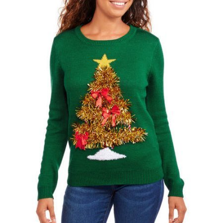 3D Tinsel Tree Sweater
