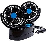 Taotuo 12V 360 Degree Rotation Adjustable Strong Wind Oscillating Car Air Fan 2-in-1 Air Circulator for Van SUV