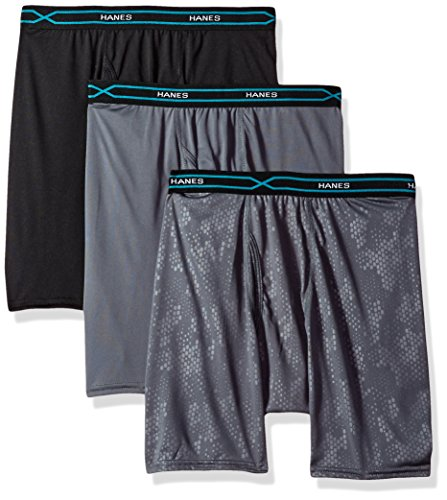 Hanes Men's 3-Pack X-Temp Performance Cool Embossed Boxer Brief, Assorted, X-Large ()