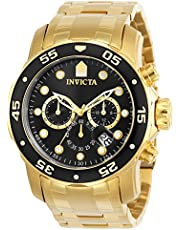 Invicta Men's Pro Diver Scuba 48mm Gold Tone Stainless Steel Chronograph Quartz Watch, Gold/Black (Model: 0072)