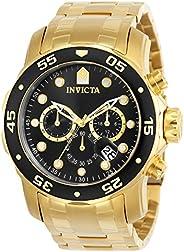Invicta Relógio Masculino Pro Diver Scuba 48 mm Dourado Tom Aço Inoxidável Cronógrafo Quartzo, Dourado/Preto (