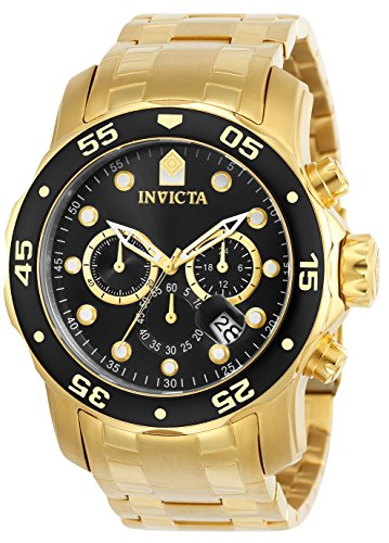 Invicta Men's 0072 Pro Diver Collection Chronograph 18k Gold-Plated Watch, Gold/Black ()