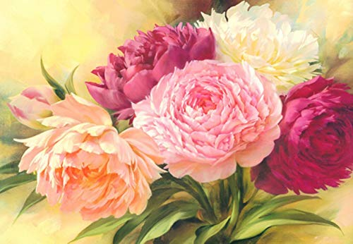RICUVED DIY 5D Diamond Painting by Number Kit, Full Drill Peony Flowers Rhinestone Embroidery Cross Stitch Supply Arts Craft Canvas Wall Decor, 12 x16inch