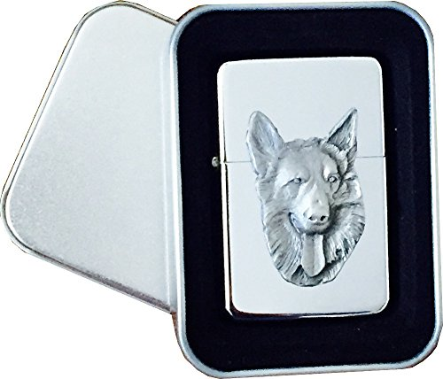 Chrome Star Lighter with Pewter German Shepherd Dog Emblem, Complete with Metal Gift Tin - German Cigarette Lighter
