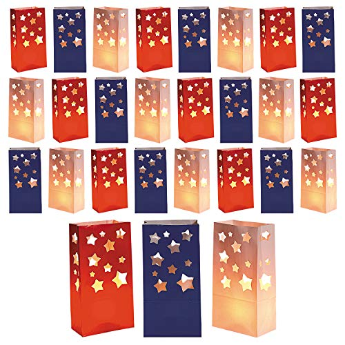 Live It Up! Party Supplies Patriotic Luminary Bags for 4th of July Decorations, Military Welcome Home Parties and More (24 Pack) for $<!--$17.95-->