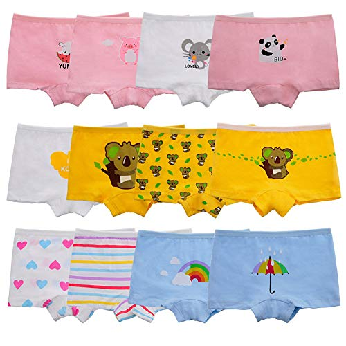 Anktry Kids 12 Pack Soft Comfort Cotton Knickers Underwear Little Girls Assorted Boyshort Panties 2-10 Yrs (XL(8-10) Years, ()