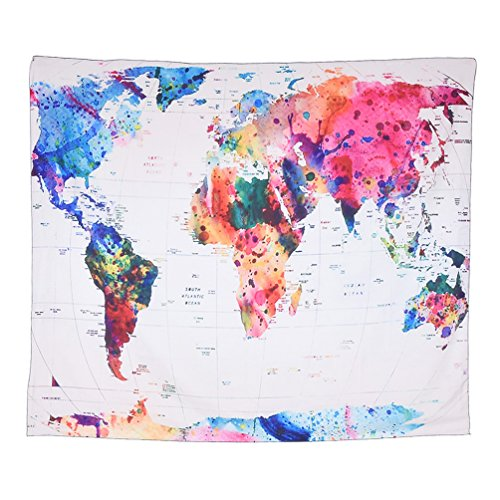 Floral Vintage Tapestry (Watercolor World Map Tapestry Vintage Living Room Wall Hanging Decor 150x130cm)