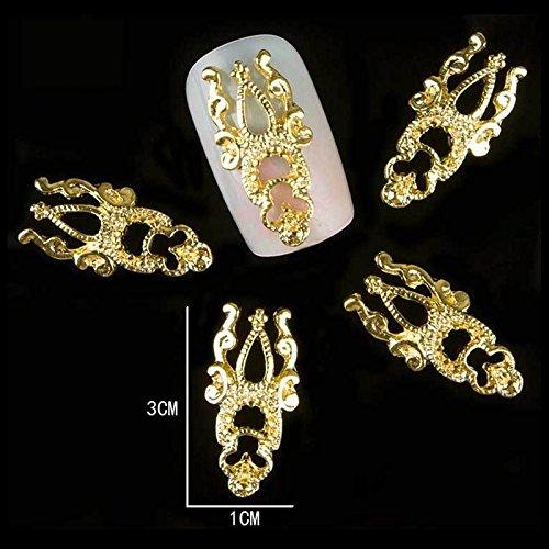 MIOBLET 5pcs/bag Gorgeous Crown Alloy Nail Rhinestone Charms Design 3D Nail Art Decoration Supplies Accessory Manicure Wholesale (long Gold)]()