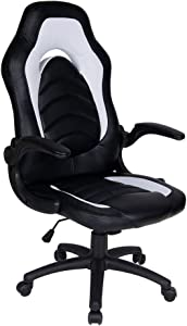 Polar Aurora Office Chair Leather Desk High Back Ergonomic Adjustable Racing Chair Task Swivel Executive Computer Chair (White)