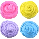 Zeker Fluffy Slime Stress Relief Sludge Soft Clay Floam Toys for Kids DIY 4 Pack
