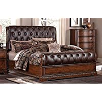 Borges California King Tufted Leather Bed in Cherry Finish