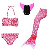 Mermaid Swim Tail,Vishm 3pcs Mermaid Tail Princess Girls Swimsuit 3-11 Year Girl +