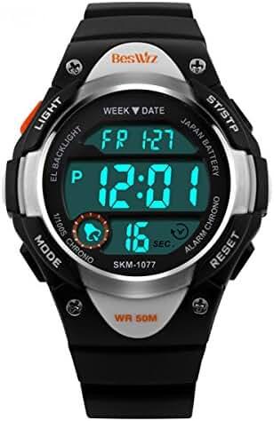 BesWLZ Sports Kids LED Digital Alarm Stopwatch Waterproof Wristwatch Children's Dress Watches Black