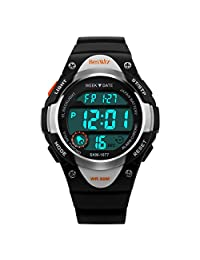 BesWLZ Sports Kids LED Digital Alarm Stopwatch Waterproof Wristwatch Children's Dress Watches (black)