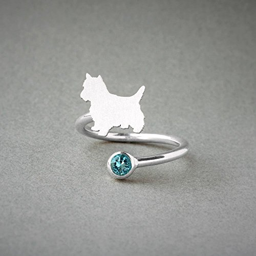 Adjustable Spiral Yorkshire Terrier And Birthstone Ring