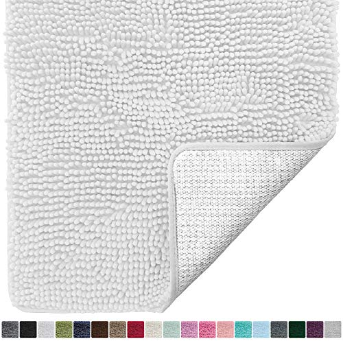Gorilla Grip Original Luxury Chenille Bathroom Rug Mat (30 x 20), Extra Soft and Absorbent Shaggy Rugs, Machine Wash/Dry, Perfect Plush Carpet Mats for Tub, Shower, and Bath Room (White)