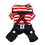 Handsome Nautical Dog Jumpsuit for Dog Shirt Dog Costumes Cozy Dog Clothes Free Shipping,Red,S, My Pet Supplies
