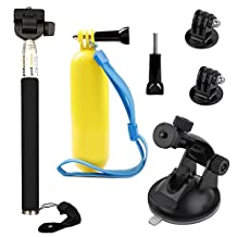 VVHOOY Float Handle Grip with Handheld Selfie Stick and Car Suction Mount Holder for Gopro HERO 5 Session/Pictek/Patec Underwater Waterproof Helmet Action Camera 1080P&4K Accessories