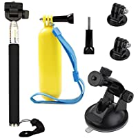 VVHOOY Float Handle Grip with Handheld Selfie Stick and Car Suction Mount Holder for Gopro HERO 5/AKASO EK7000/ODRVM/APEMAN/Victure/Campark ACT74/FITFORT Underwater Action Camera Accessories