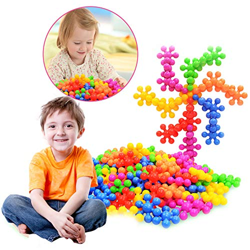Plum Blossom Shaped Building Blocks More than 100 Pieces, Preschool Educational Construction Toys for 3+ Years Old Kids Boys Girls, Plastic Puzzles Block Sets Brain Snow Flakes Toy ()