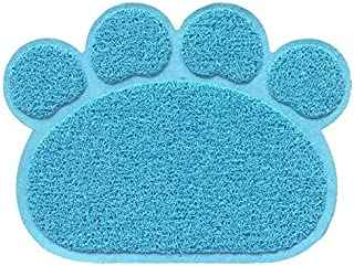 SEN PVC Paw Print Pad Dog Cat Litter Mat Feeding Bowl Mat Anti-skid Sleeping Pad light blue