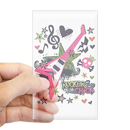 Sticker Clear (Rectangle) Rocker Chick Guitar Treble Clef