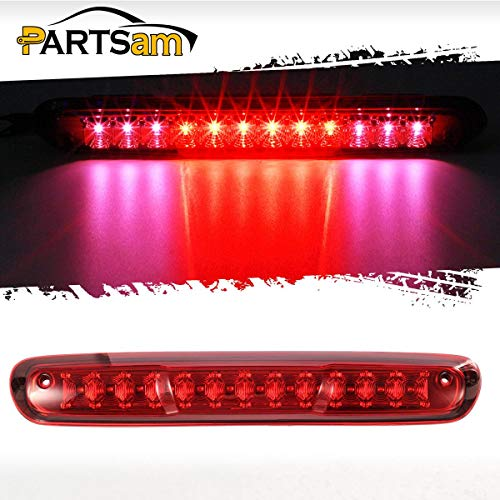 Partsam High Mount Led Third 3rd Brake Light Red Replacement for Chevrolet Silverado and Compatible with GMC Sierra 07-13 1500 2500 HD 3500 HD Rear Cab Center Mount Stop Brake Tail Cargo Light Lamp