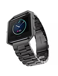 Fitbit Blaze Band, iitee Luxury Stainless Steel Watch Band Wrist Band Strap for Fitbit Blaze ( steel band- black)