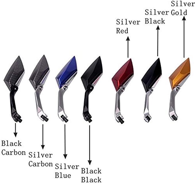 Espejos laterales retrovisores para motocicletas universales 8//10 mm para motos de calle de carretera deportiva scooter cruiser negro carbono