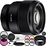 Sony FE 85mm f/1.8 Lens 9PC Accessory Bundle – Includes Manufacturer Accessories + 3 Piece Filter Kit (UV + CPL + FLD) + MORE