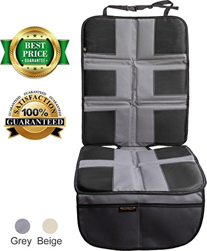 Car Seat Protector by ShmidtS - Luxury Car Seat Cover Summer/Winter for Baby & Child - Anti-Slip, Heavy Duty Car Seat Mat Protector for Infants W/Upholstery, Grey/Gray