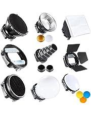 """Neewer Pro (Pro versione di Neewer Prodotto) Accessori Kit per Speedlite Flash, Include Barndoor, Conico Snoot, Mini Riflettore, Sfera Diffusore, Beaty Disc, 8 """"x12"""" / 20x30 cm Softbox, Nido d'ape, Filtri Colorati (Arancio, Blu, Bianco, Giallo), Adattatore Universale di Supporto"""