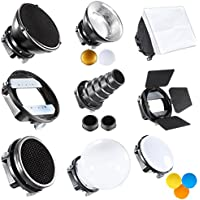 Neewer Pro (Pro Version of Neewer Product) Speedlite Flash Accessories Kit with Barndoor, Conical Snoot, Mini Reflector, Sphere Diffuser, Beaty Disc, 8x12/20x30 cm Softbox, Honeycomb, Colour Filters (Orange, Blue, White, Yellow), Universal Mount Adpater