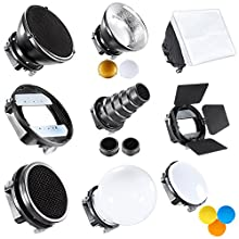 """Neewer Pro (Pro Version of Neewer Product) Speedlite Flash Accessories Kit with Barndoor, Conical Snoot, Mini Reflector, Sphere Diffuser, Beaty Disc, 8""""x12""""/20x30 cm Softbox, Honeycomb, Colour Filters (Orange, Blue, White, Yellow), Universal Mount Adpater"""