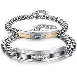 KONOV Cubic Zirconia Stainless Steel Mens Womens Couples Love Bracelet Set, 2pcs, Black Silver