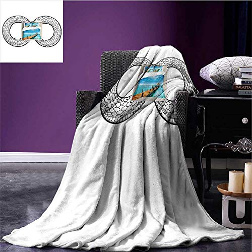 (RenteriaDecor Medieval Throw Blanket Snake Curled in Infinity Ring Middle Age Masonic Symbol Art Sketch Illustration Bed Cover Black White Bed or Couch 50
