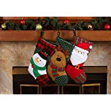 "3 Pcs Set - Classic Christmas Stockings 18"" Cute Santa's Toys Stockings (Embroidered)"