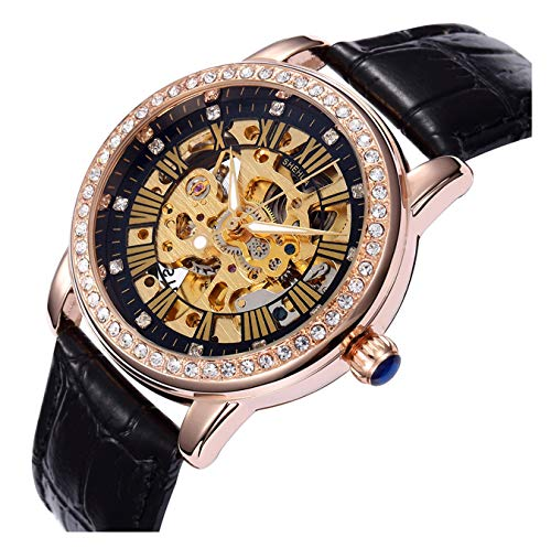 Fashion Casual Sports Women Luxury Automatic Mechanical Skeleton Rhinestone Leather Strap Girls Watches (Black Gold Black)