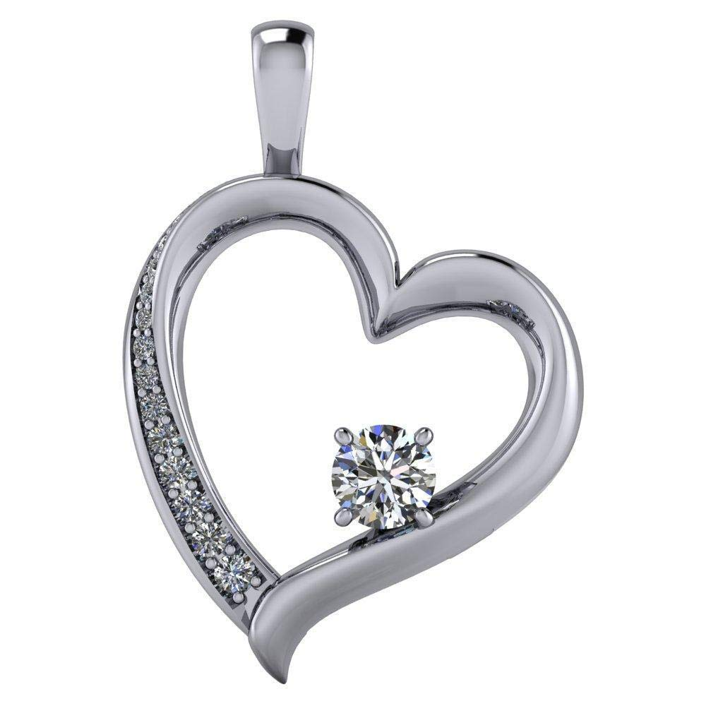 0.12 Ct Round Cut Simulated Diamond Heart Shaped Pendant With 18 Chain In 14K White Gold Plated .925 Silver