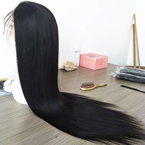 Straight Human Hair Wig European Virgin Wig 200% Density Full Lace Wig Natural Black 30 Inch
